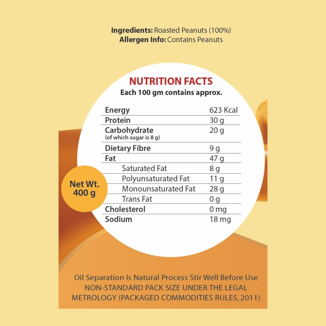 nutritional facts of natural endura peanut butter