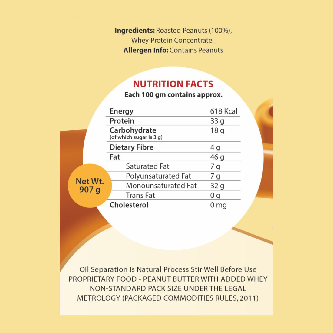 Endura peanut butter with added whey nutritional chart